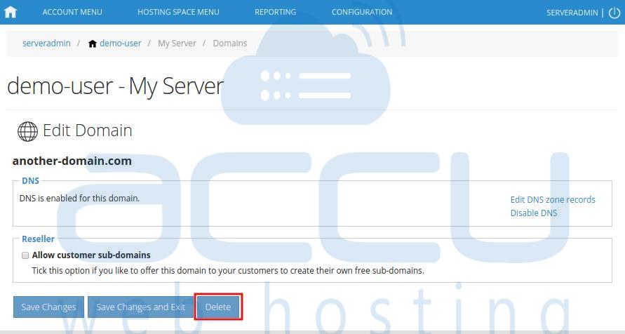 Delete Domain
