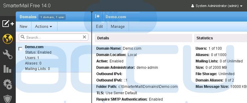 SmarterMail Admin Panel