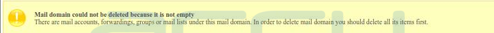 Mail Domain Deletion Error