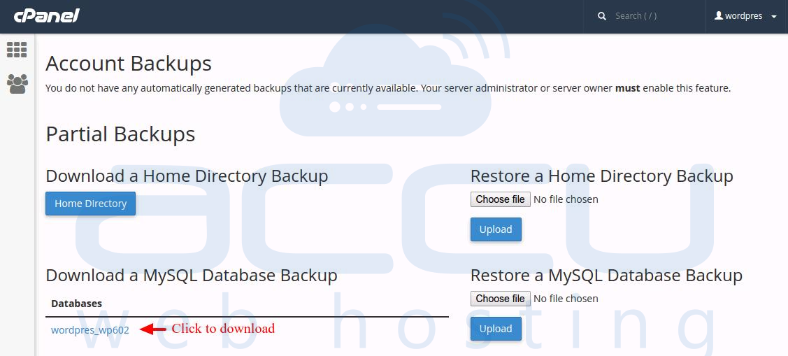 Download MySQL Database Backup