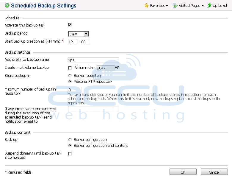 Settings of Scheduled Backup