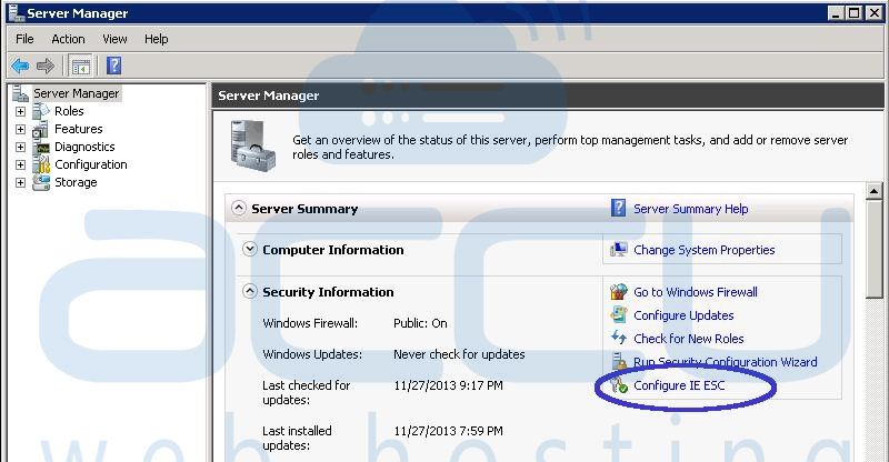 Click on Configure IE ESC Option in Windows Server 2008