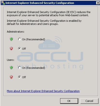 Disable IE ESC Setting by Clicking on Off in Windows Server 2008