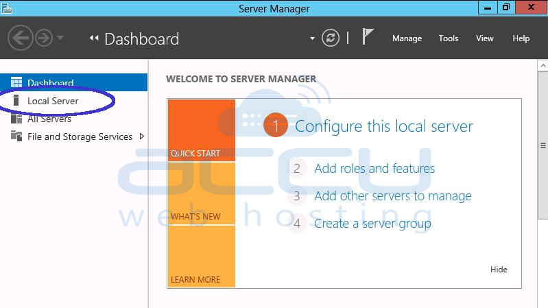 From Dashboard Select Local Server Option in Windows Server 2012