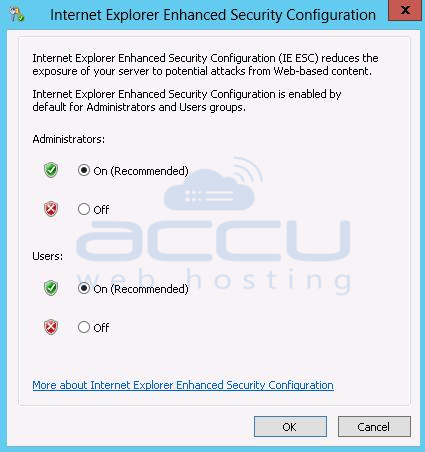 Click on Off Button to DIsable IE ESC Configuration in Windows Server 2012