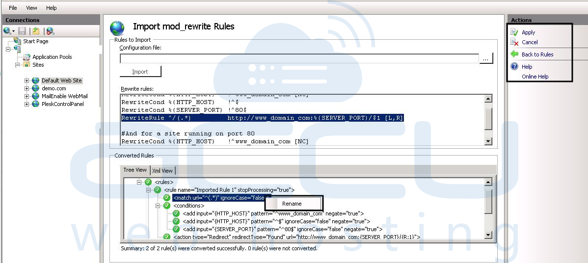 How to Enable mod_rewrite on IIS Web Server? - Knowledgebase