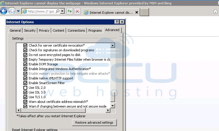 Enable TLS in Internet Explorer