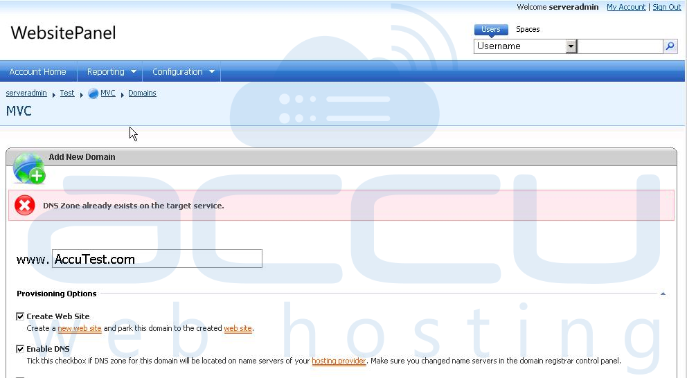 Error - DNS Zone Already Exists on Target Server