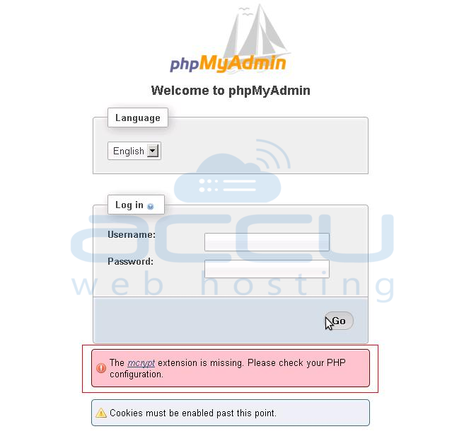 Error in phpMyAdmin - mcrypt Extension is Missing