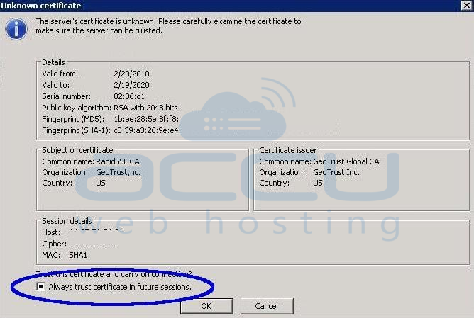 FTP SSL/TLS Certificate Warning