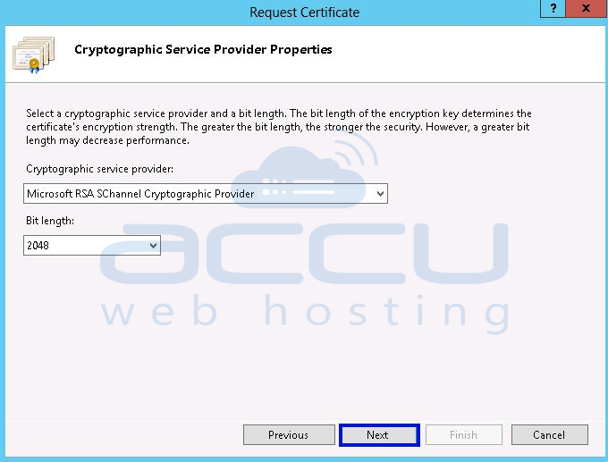 Select Cryptographic Service Provider for SSL Certificate