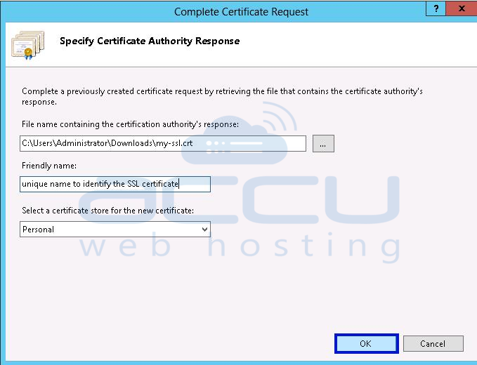 Select File that Contains SSL Certificate