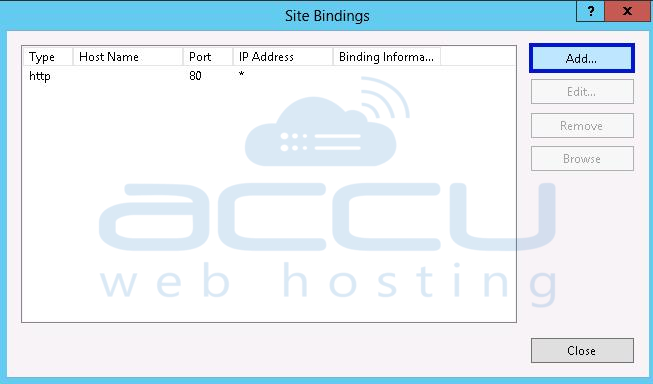 Add New Website Binding for SSL