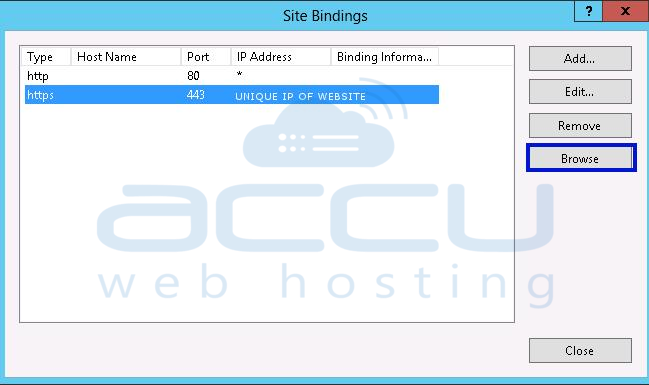 Browse HTTPS Binding to Verify SSL Certificate