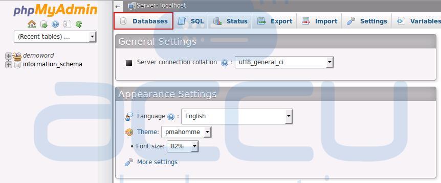 phpMyAdmin - List of Databases
