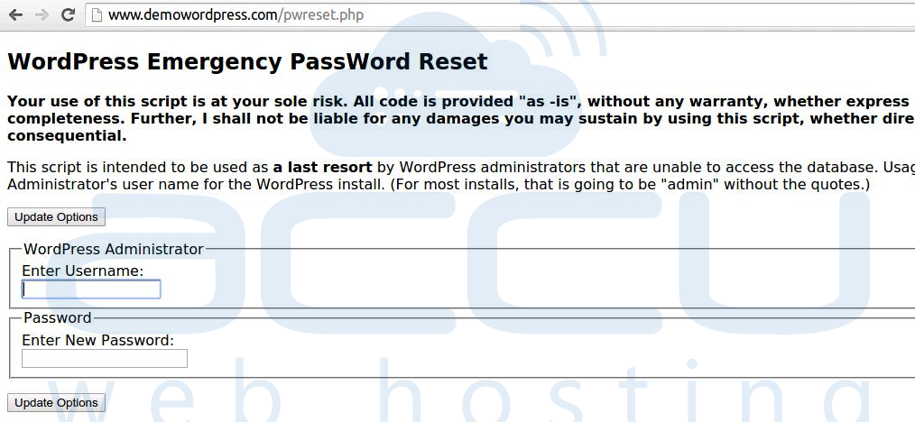 browes password reset scrtip