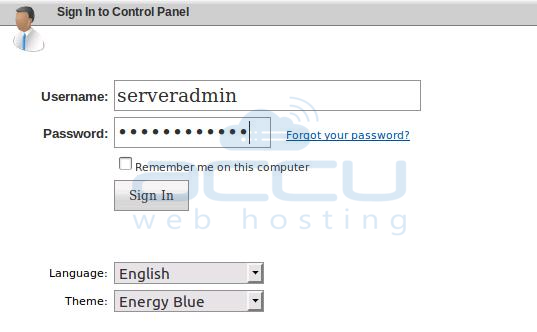 WebsitePanel Login Screen
