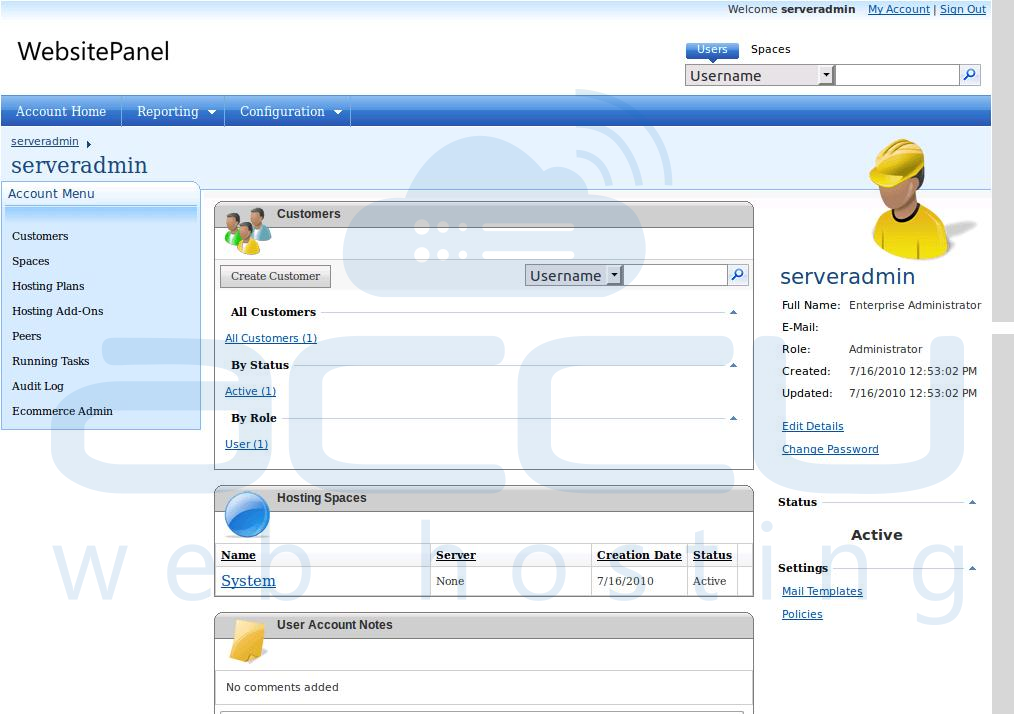 WebsitePanel Dashboard
