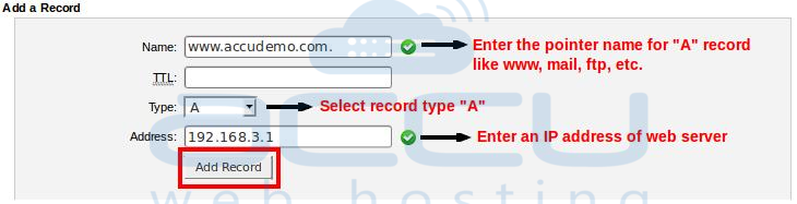 "Add New ""A"" Record for Your Domain"