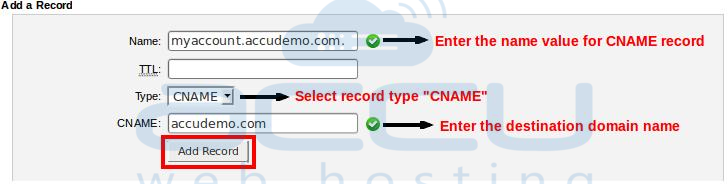 "Add New ""CNAME"" Record for Your Domain"