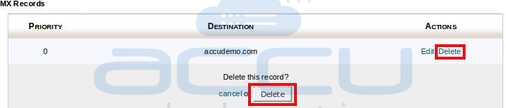 Delete MX Record by Clicking on Delete Option