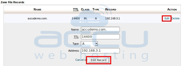 Click on Edit to Edit Any DNS Record