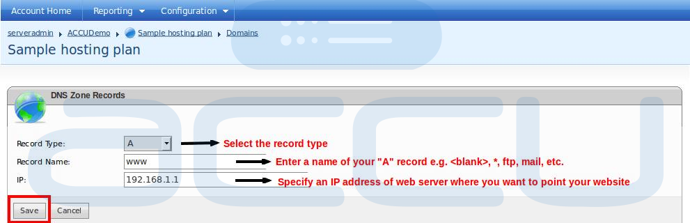 """Add New """"A"""" Record for Your Domain"""