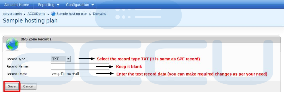 "Add New ""TXT"" Record for Your Domain"