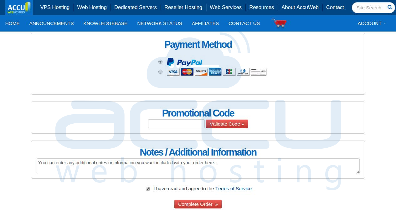Select Payment Method, Provide Promotional Code, Accept Terms and Complete Order