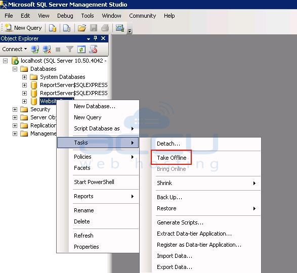 How to take MSSQL database offline or bring it online
