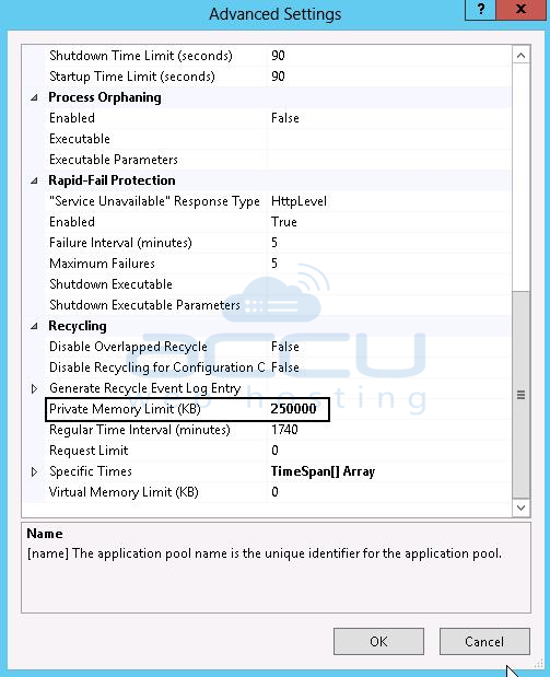 Advanced Settings of IIS Application Pool
