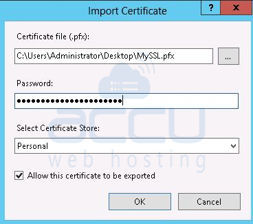Certificate File and Password Information to Import