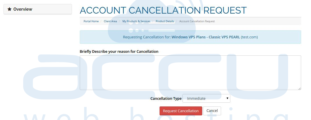 Descrive the Reason for Service Cancellation and Submit