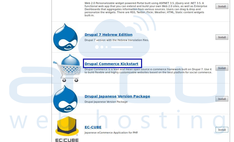 Select Drupal Commerce Kickstart Option