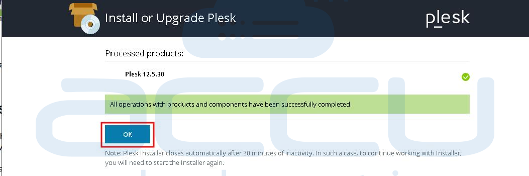 Successful Installation of Plesk