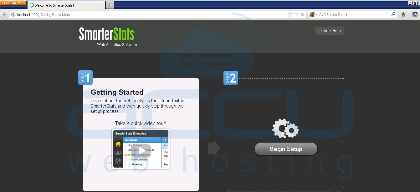 Click on Begin Set up to Configure SmarterStats