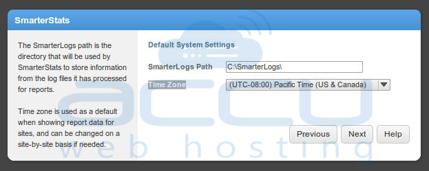Select SmarterLog Path and Timezone