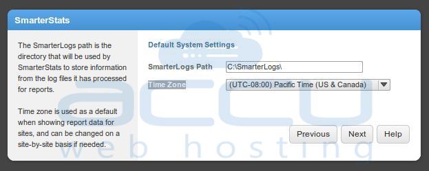 Select SmarterLog Path and Timezone