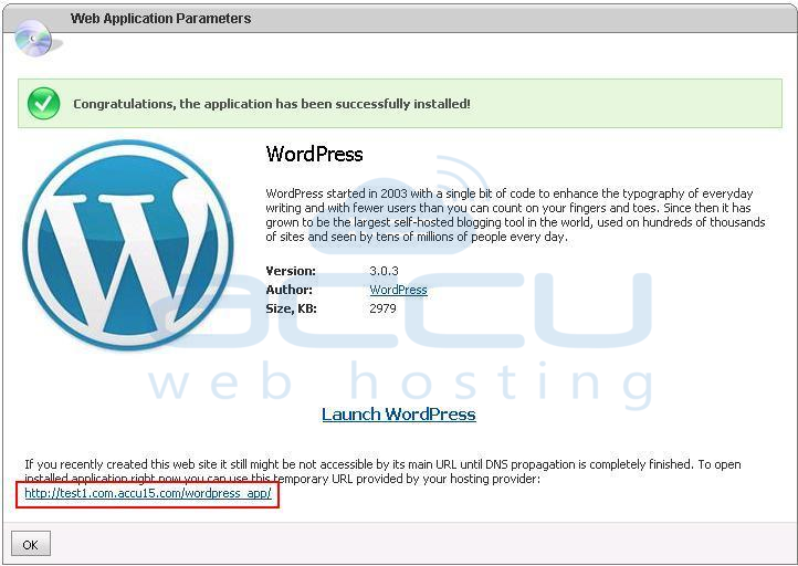 Successful Installation of WordPress