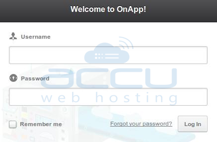 OnApp Login Control Panel Screen