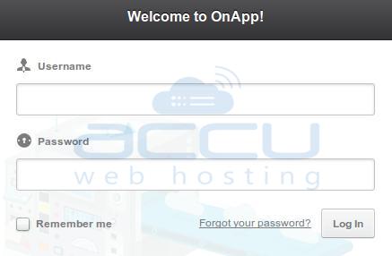 OnApp Login Control Panel Screen
