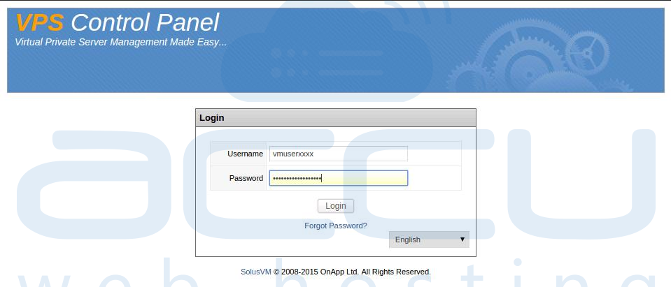 SolusVM Login Screen