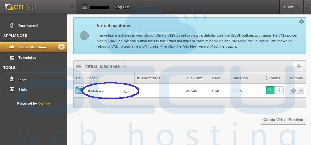 Select Virtual Machines Option