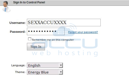 VPS Management Control Panel Login Screen