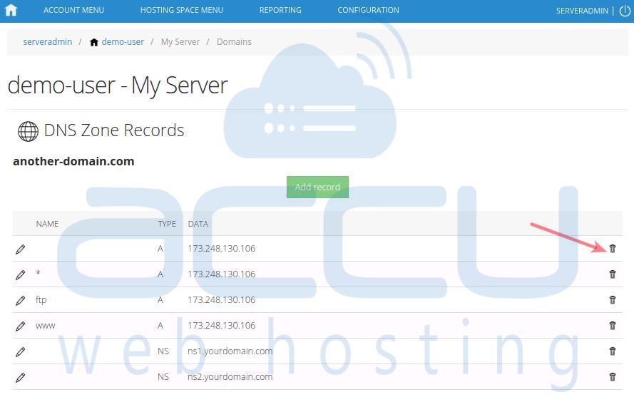 Delete a DNS Record