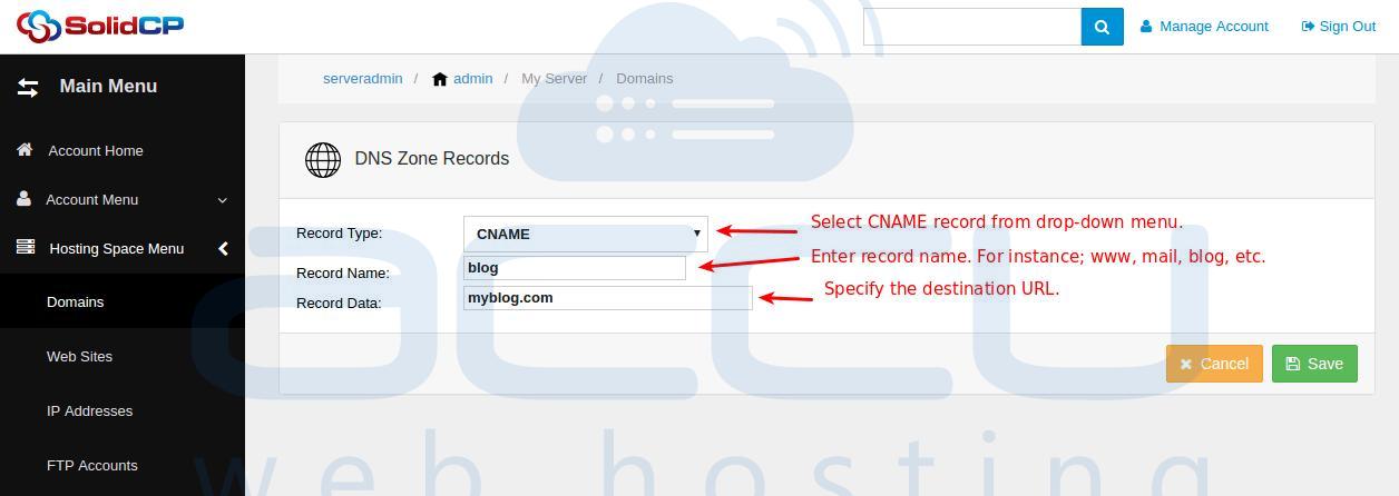 Add CNAME Record
