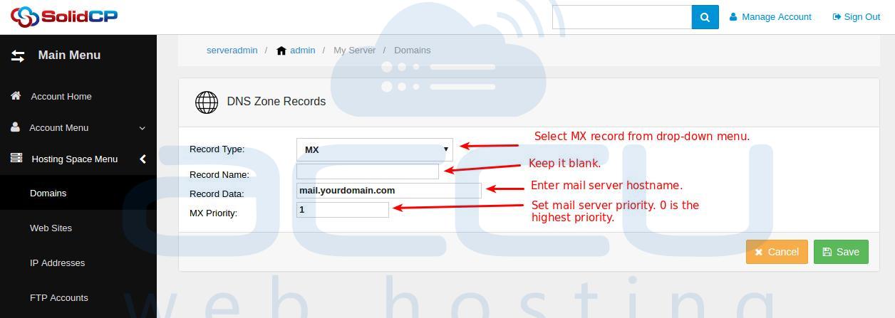 Add MX Record