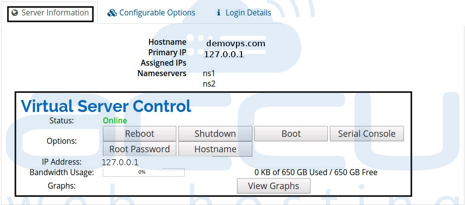 Virtual Server Control