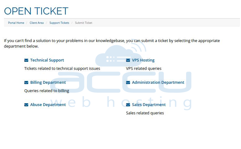 Select Appropriate Department to Open a Ticket