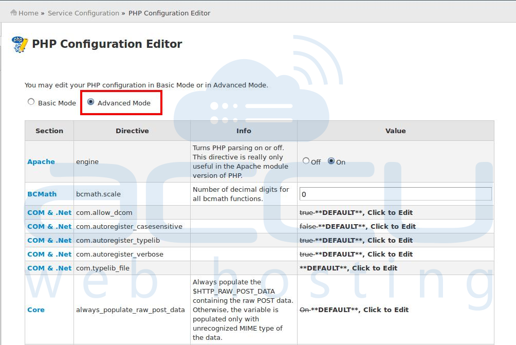 PHP Configuration Editor in WHM